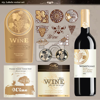 Zestaw do wina etykiety