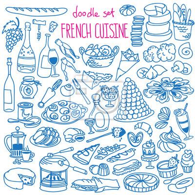 Fototapeta Zestaw Doodlek Kuchni Francuskiej Tradycyjne Potrawy I Napoje