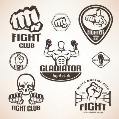 Fototapeta Zestaw emblematów klubowych walki, MMA, etykiety bokserskie i Bages