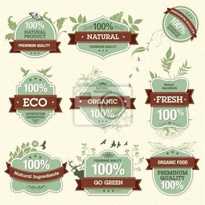Zestaw etykiet naturalnych Jakość Premium