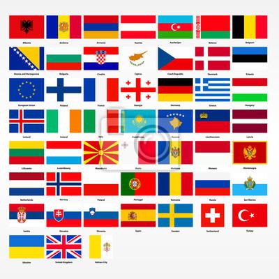 Fototapeta Zestaw flag wszystkich krajów Europy