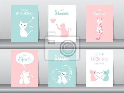 Zestaw Kart Zaproszenie Na Baby Shower Plakat Pozdrowienia