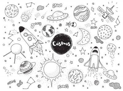 Fototapeta zestaw kosmicznych obiektów. Ręcznie rysowane Doodles wektorowej. Rakiety, planety, gwiazdozbiory, ufo, gwiazdy, itp przestrzeni tematycznej.
