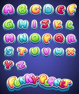 Fototapeta Zestaw kreskówek kolorowe litery do dekoracji różnych nazw