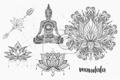 Zestaw Mandali I Inne Elementy Wektor Tatuaż Mandali Styl