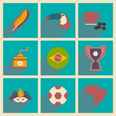 Fototapeta Zestaw płaskich ikon z długim cieniem Brazylii