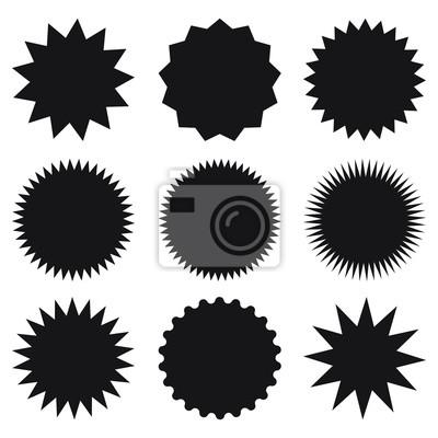 5252bd250c6cc6 Fototapeta Zestaw pustych naklejek promocyjnych. Gwiazda, grafika,  sunburst, połysk, pieczęć,