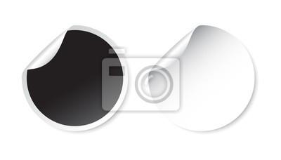 4a6f37dc80c3a3 Fototapeta Zestaw pustych naklejek. Puste etykiety promocyjne. ilustracji  wektorowych. Czarno-białe okrągłe
