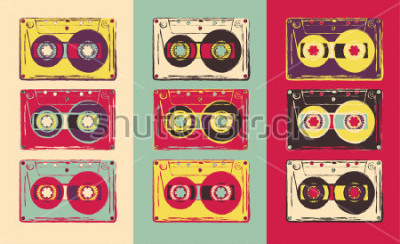 Fototapeta Zestaw retro kaset audio, w stylu pop-art. Grafika wektorowa.