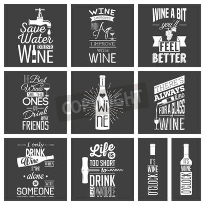 Fototapeta Zestaw rocznik wina typograficznych cytatów.