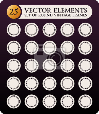 Fototapeta Zestaw Vintage ramki okrągłe. Elementy projektu kaligraficzne