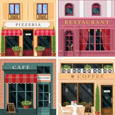 Fototapeta Zestaw wektora szczegółowe restauracji płaska i ikon kawiarnie elewacyjnych. Chłodny graficzny wygląd zewnętrzny dla gastronomii.