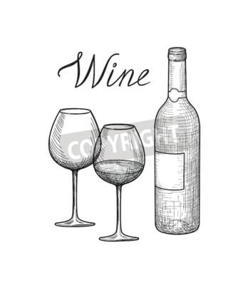 Zestaw Wino Kieliszek Do Wina Butelka Odręcznie Napisane
