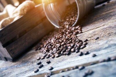 Fototapeta Ziarna kawy w wiadrze
