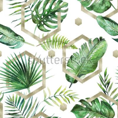 Fototapeta Zielona tropikalna palma & paproć opuszcza z złocistymi geometrycznymi kształtami na białym tle. Akwarela ręcznie malowany wzór. Tropikalna ilustracja. Liście dżungli.