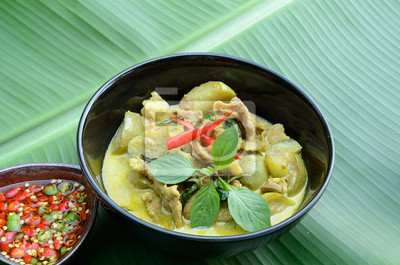 Fototapeta Zielone Curry Wieprzowina Kuchnia Tajska