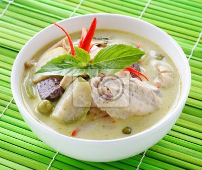 Fototapeta Zielone Curry Z Kurczaka Dania Kuchni Tajskiej