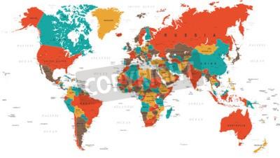 Fototapeta Zielony Czerwony Żółty Brązowy World Map - granice, kraje i miasta - ilustracja