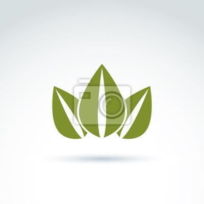 Fototapeta Zielony korony stworzony z trzech liści, wektor ekologii koroną. E