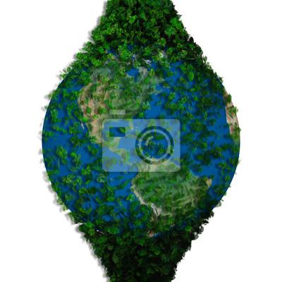 Ziemia Planeta Pokryta Liśćmi Globus Ekologicznego Fototapeta
