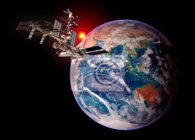 Ziemia Planeta Satelita Międzynarodowa Stacja Kosmiczna Iss Na
