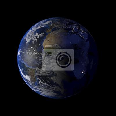 Ziemia Planeta Układu Słonecznego Na Czarnym Tle Renderowania