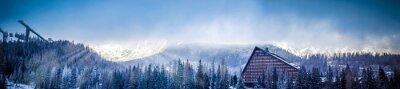 Fototapeta zimowych scenicznego widok na panoramę góry z platformą hotelarskiej i skoków narciarskich, słońce pokryte chmurami