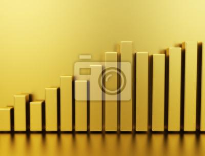 Fototapeta Złoto wykres cena akcji
