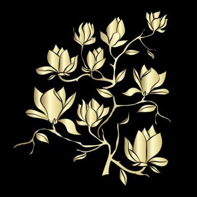 Fototapeta Złoty kwitnienia oddział Magnolia na czarnym tle ilustracji wektorowych