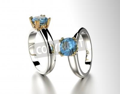 Złoty Pierścionek Zaręczynowy Z Niebieskim Topazem I Akwamaryn