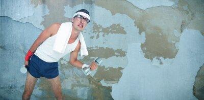 Fototapeta Złożony wizerunek geeky modnisia podnośni dumbbells w sportswear