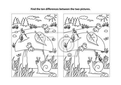Znajdz Dziesiec Roznic Obrazu I Kolorowanki Z Duzymi Grzybami