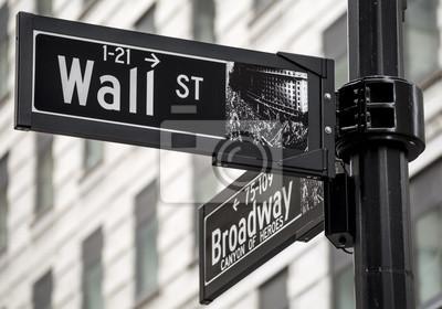 Fototapeta Znak Wall Street w Nowym Jorku, USA.