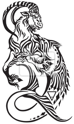 Fototapeta Znak Zodiaku Koziorożec Tribal Tattoo Style Mitologiczny Stwór