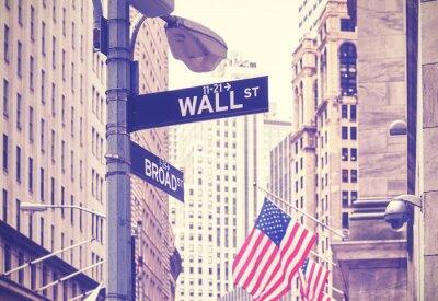 Fototapeta Znaki Wall Street i Broad Street, zastosowano tonację kolorową, Nowy Jork, USA.
