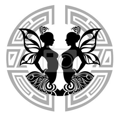 Fototapeta Znaki Zodiaku Gemini Projekt Tatuażu