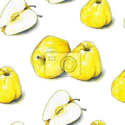 Fototapeta Zolte Jablka Owoce Na Bialym Tle Szkic Kolor Pisaki Zdrowe