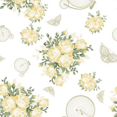 Fototapeta Żółte kwiaty, motyle i Rowery Seamless Pattern