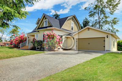 Fototapeta Żółty dom zewnętrzne z wiosną kwitnących rododendronów