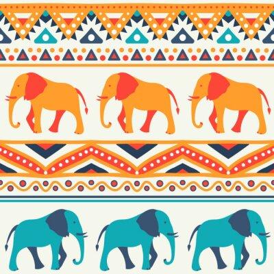Fototapeta Zwierząt bez szwu wektor wzór słonia