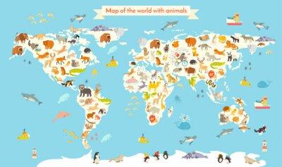 Fototapeta Zwierzęta mapa świata. Wektor kolorowych ilustracji animowany dla dzieci i dzieci. Przedszkole, edukacja, dzieci, kontynenty, oceany, ciągnione, Ziemia
