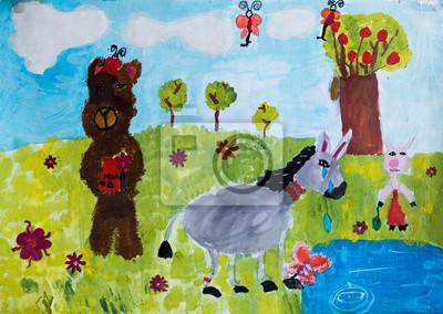 Fototapeta Zwierzęta w lesie, rysunek akwarela
