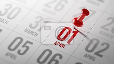 Naklejka 01 kwietnia napisane w kalendarzu, aby przypomnieć ważną appoin
