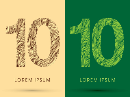 10, Font, concept line stroke , wood and leaf, grass, graphic vector.