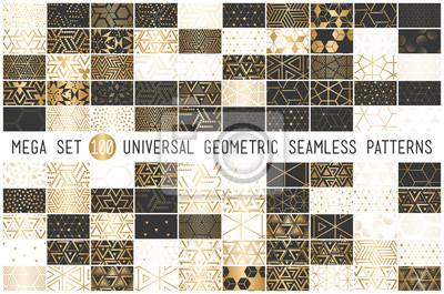 Naklejka 100 uniwersalnych gradientowych złotych geometrycznych wektorowych bezszwowych wzorów