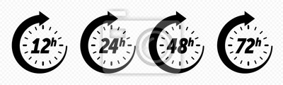 Naklejka 12, 24, 48 and 72 hours clock arrow, deodorant work time effect. Vector delivery service time icons