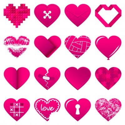 Naklejka 16 Abstrakt Pink Hearts