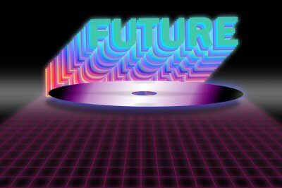 1980 retro cyberpunk laser disk vector image with neon grid