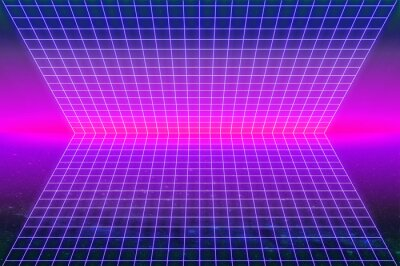 1980's inspired retro neon light grid in purple tones as a background for computer game porter