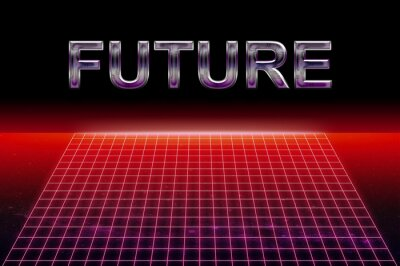 """1980's style retro graphics with red neon grid on black background with the word """"Future"""". Vintage cyberpunk concept."""